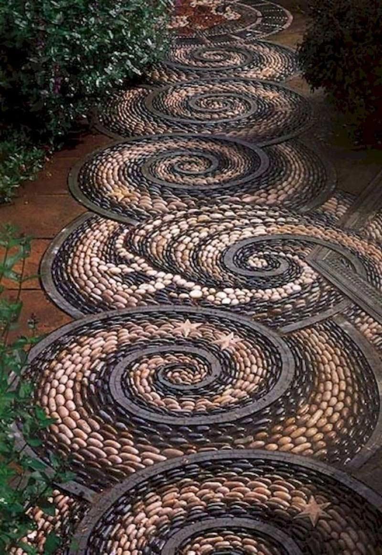 Садовая дорожка из гравия и кирпича